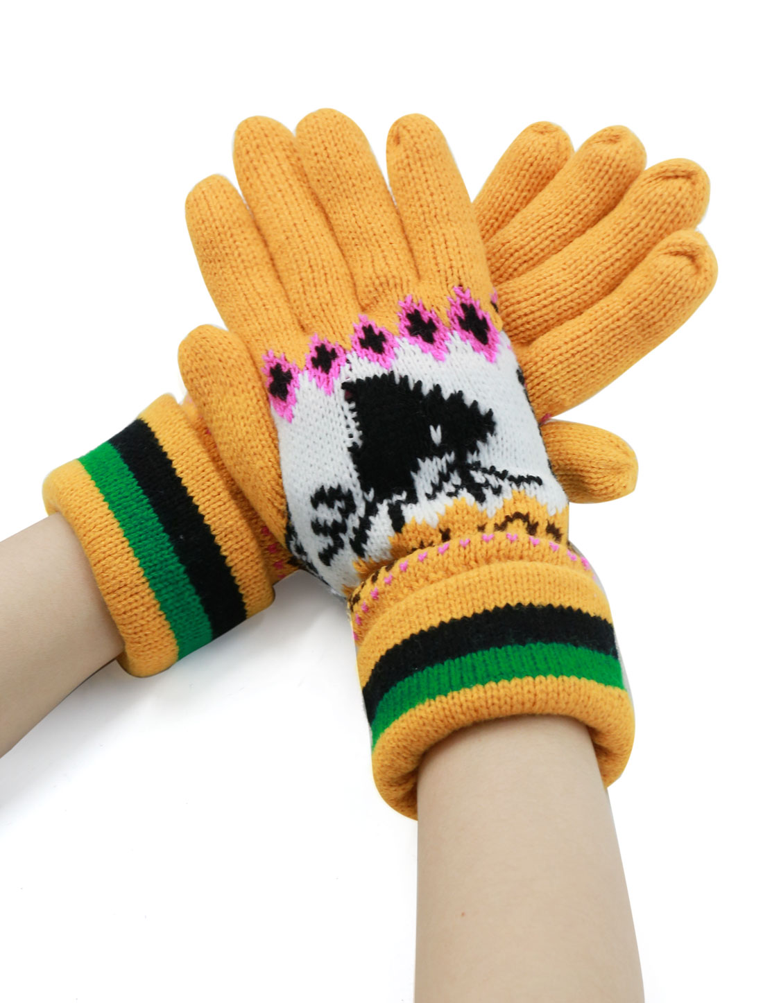 Ladies Deer Pattern Roll Up Cuffs Knitted Full Finger Gloves Pair Yellow