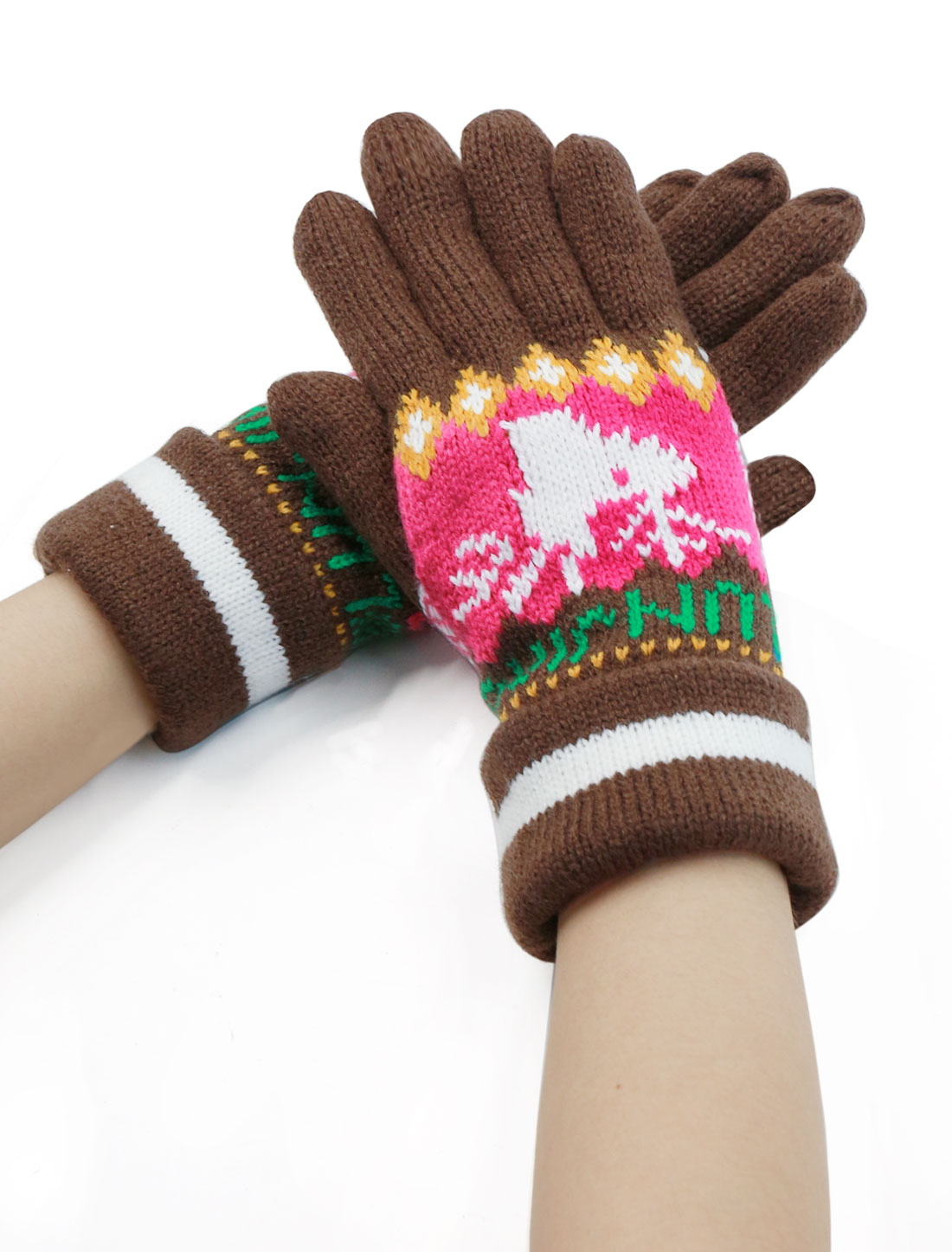 Women Palm Warm Five Fingers Deer Pattern Roll Up Cuffed Gloves Pair Brown