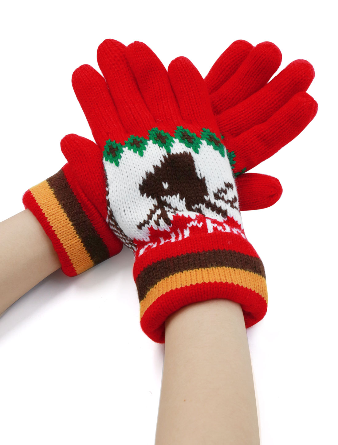 Ladies Roll Up Cuffs Five Fingers Deer Pattern Thicken Knit Gloves Pair Red