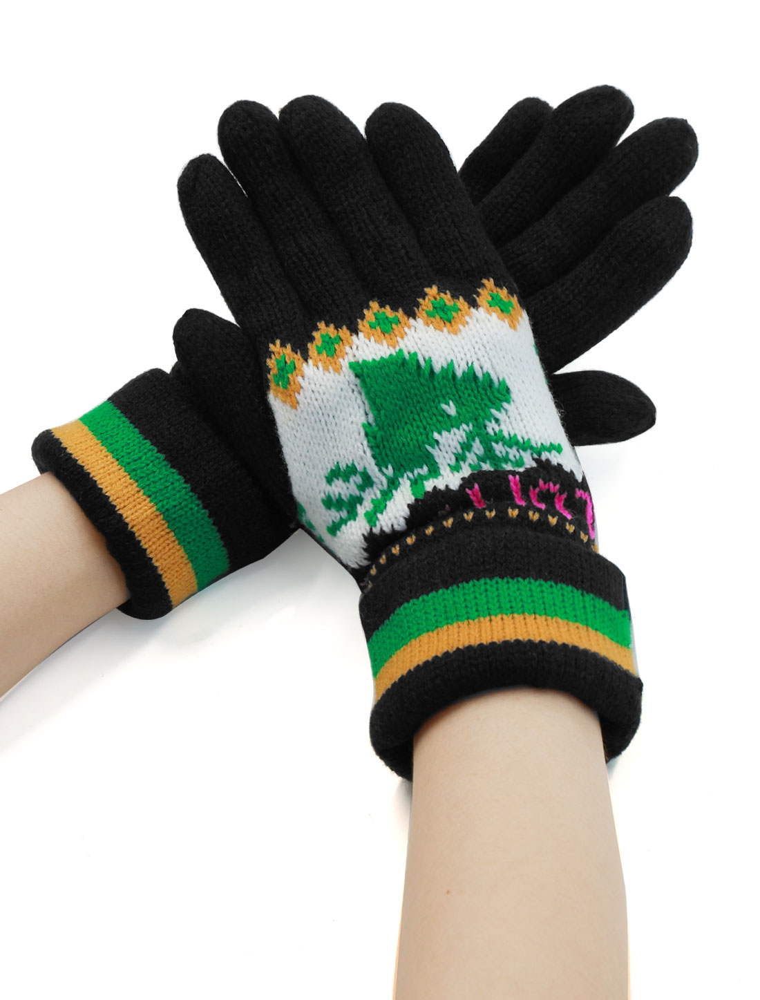 Ladies Casual Deer Pattern Roll Up Cuffs Five Fingers Knitting Gloves Pair Black