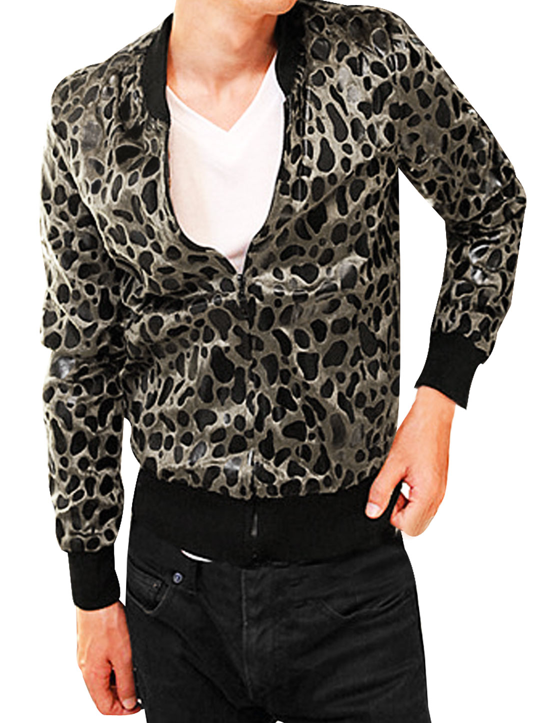 Men Stand Collar Leopard Casual Plush Jacket Black Beige L