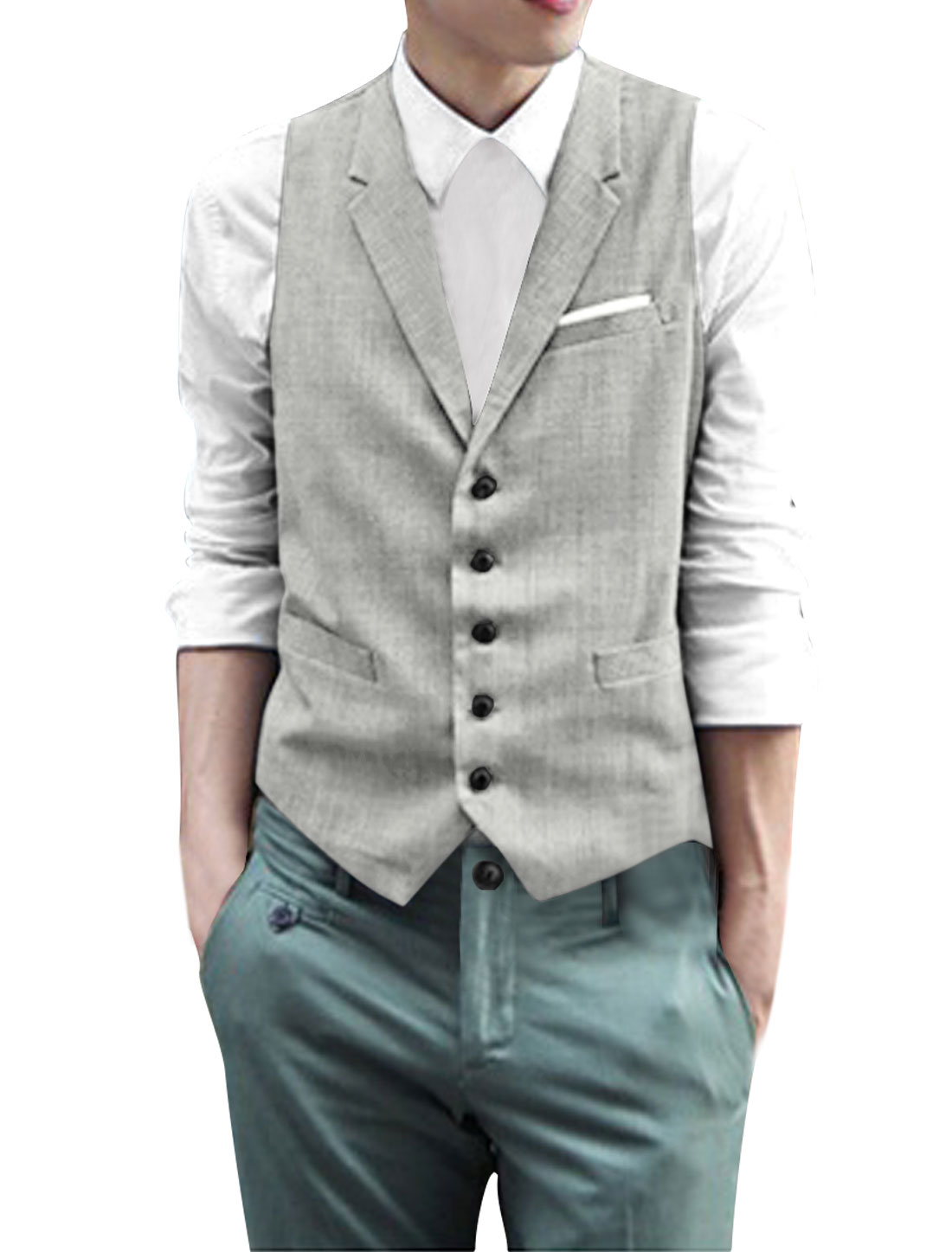 Men Notched Lapel Single Breasted Plaids Vest Gray L