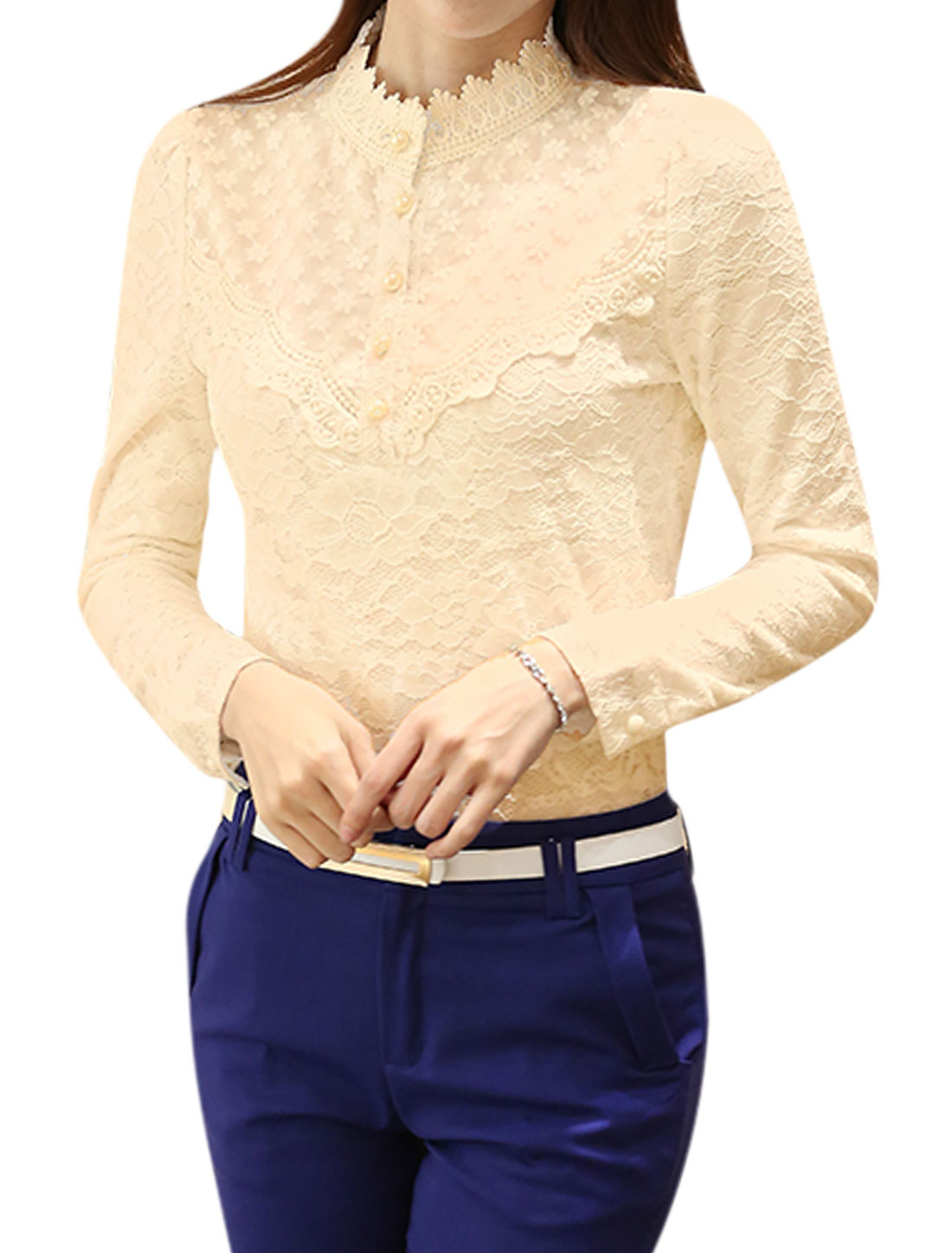 Ladies Stand Collar Long Sleeves Button Closure Slim Fit Lace Top Beige M