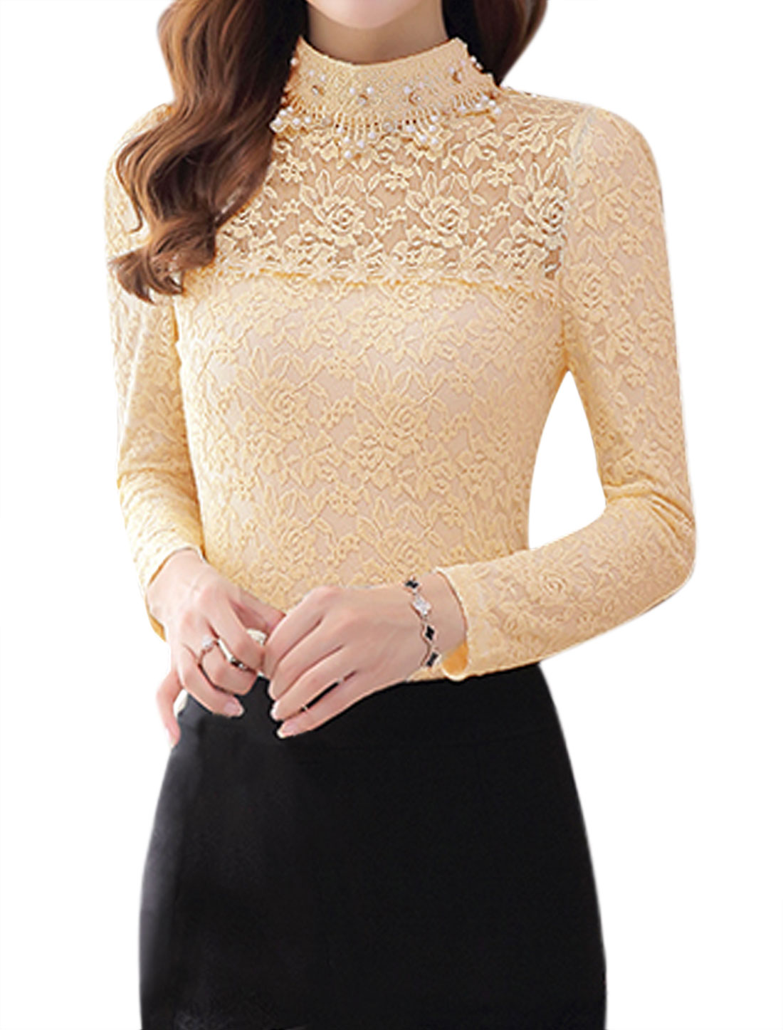 Ladies Long-Sleeved Rhinestone Embellished Slim Fit Lace Shirt Beige M