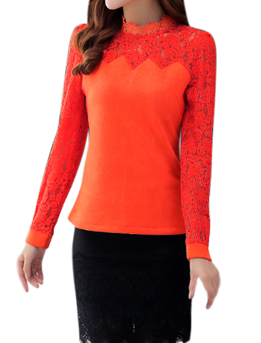 Ladies Long Sleeves Lace Panel See Through Yoke Slim Fit Shirt Orange M