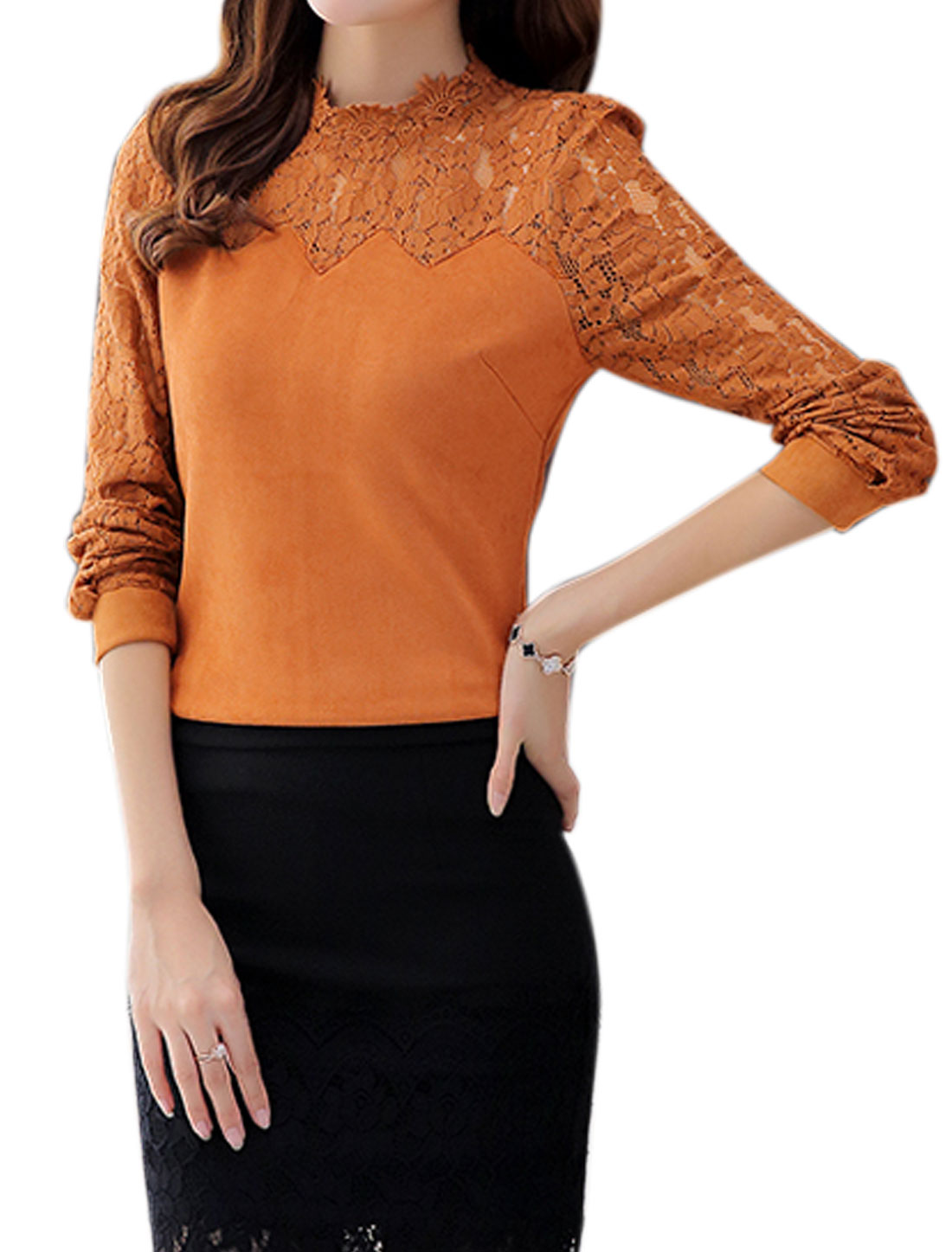 Lady Stand Collar Long-sleeved Lace Panel Pullover Slim Fit Top Brown S