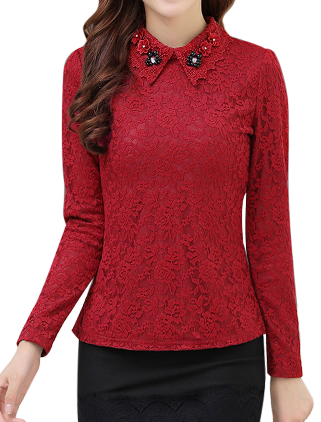 Women Beads Rhinetones Embellished Slim Fit Lace Top Red M