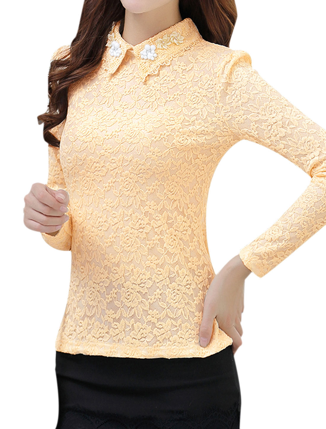 Ladies Long Sleeves Beads Flower Decor Casual Lace Top Beige M