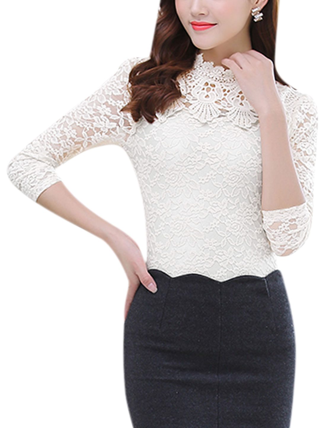 Women Long Sleeves Crochet Panel Floral Design Lace Shirt White S