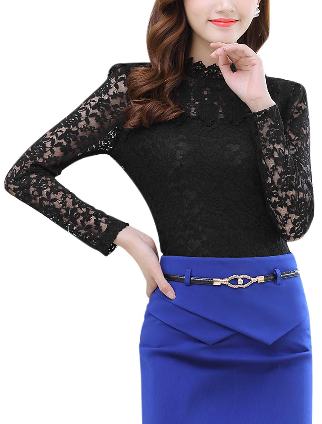 Women Scalloped Neck Long Sleeves Slim Fit Lace Shirt Black M