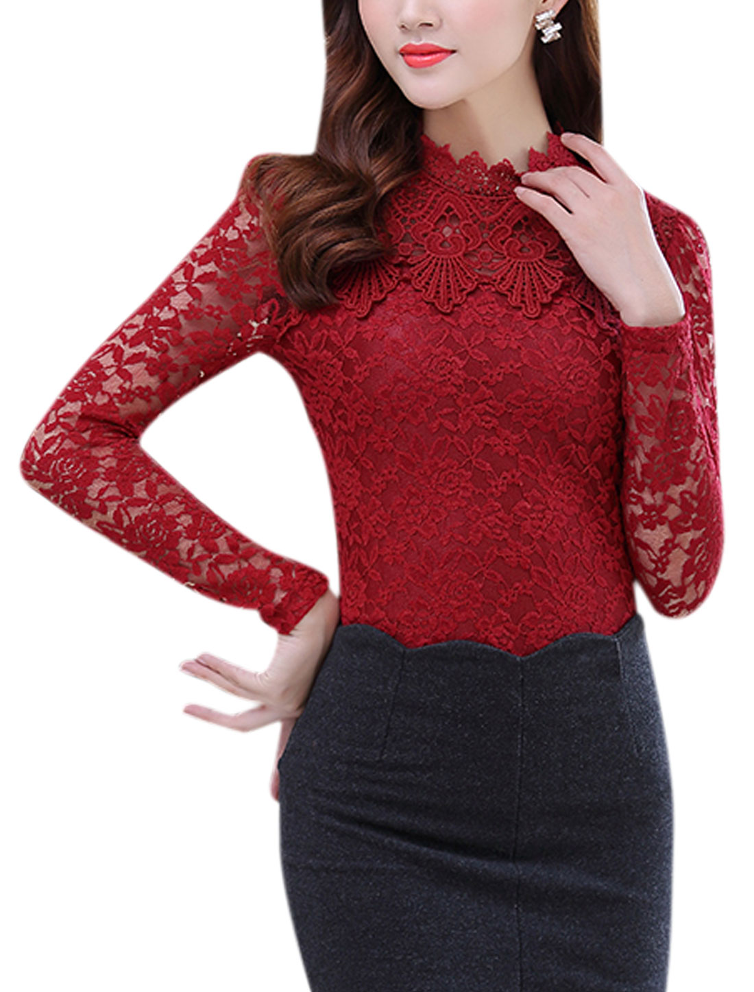 Women Scalloped Neck See Through Sleeves Crochet Panel Lace Tops Red L