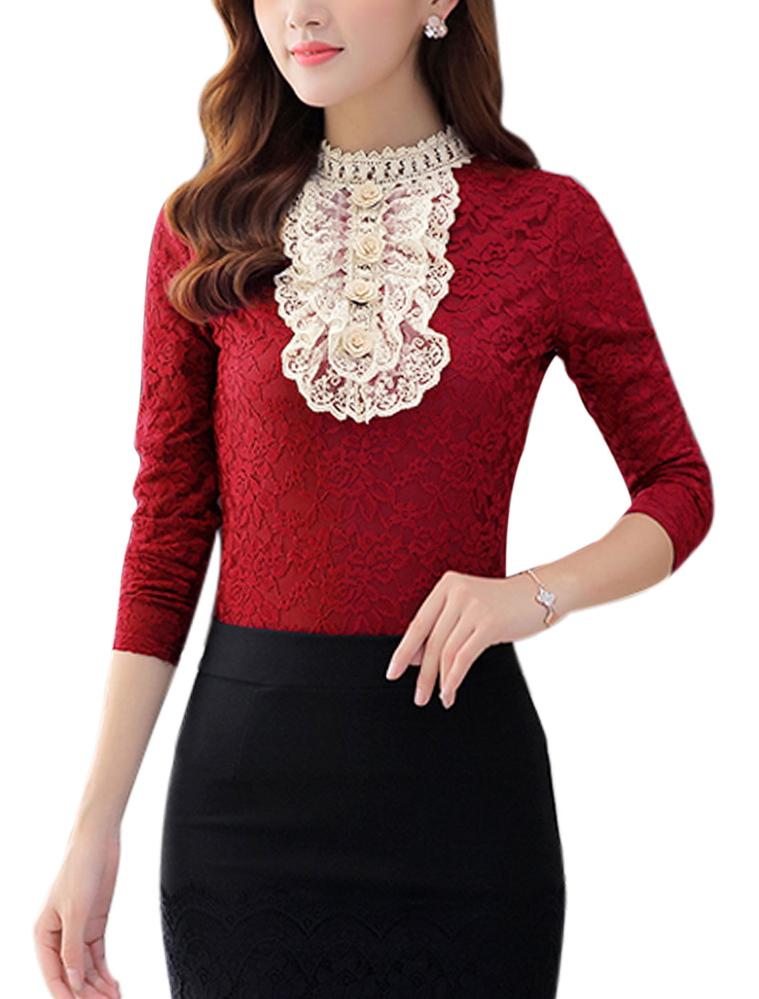 Women Ruffled Front Flower Decor Slim Fit Lace Top Red M