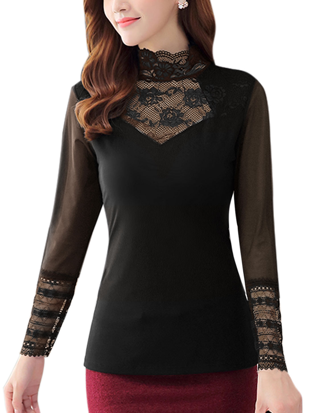 Women Scalloped Neck Long Sleeves Lace Panel Mesh Top Black M