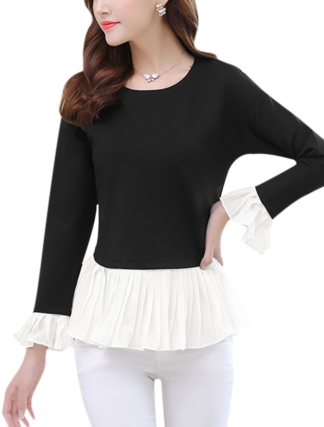 Lady Long Sleeves Chiffon Panel Flouncing Hem Peplum Top Black M