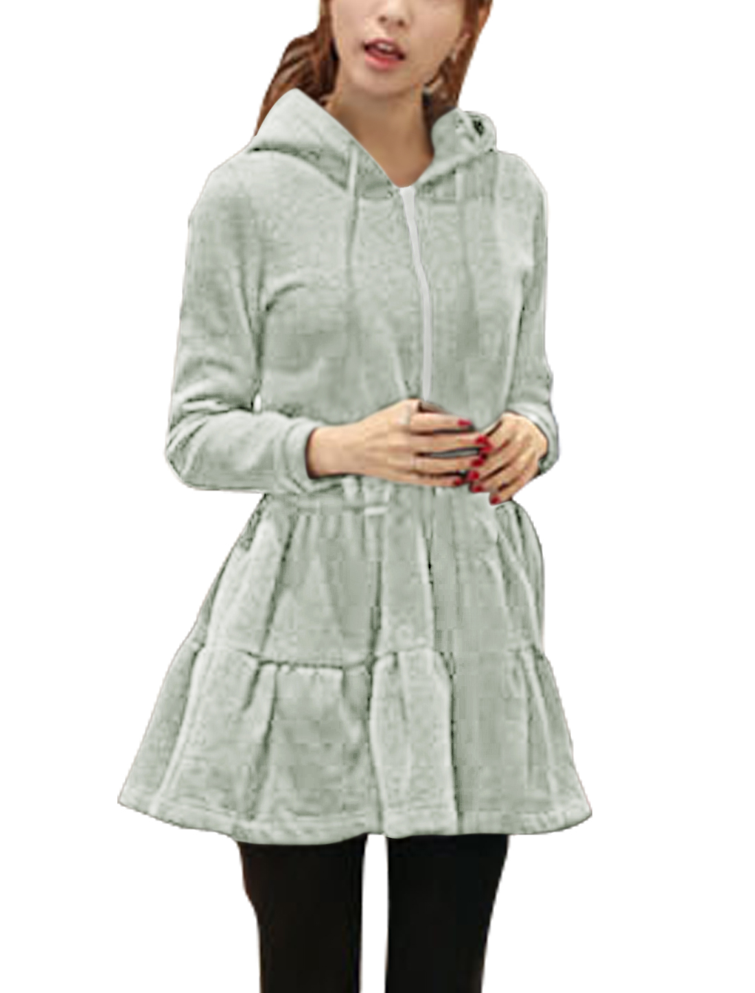Women Rabbit Ear Hood Zip Up Flouncing Hem Casual Dress Light Gray S