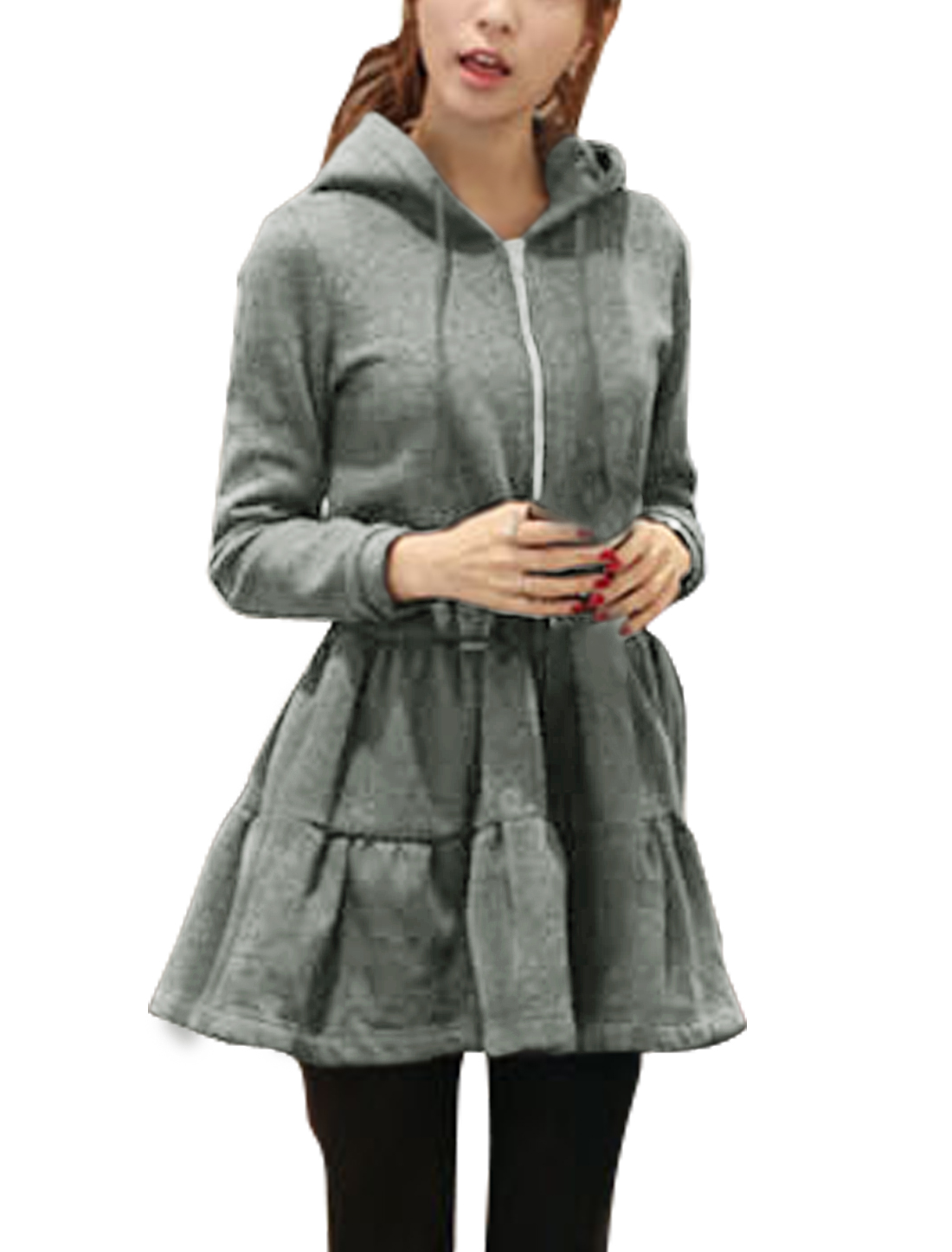 Lady Rabbit Ear Hood Zip Up Drawstring Waist Coat Dress Dark Gray S
