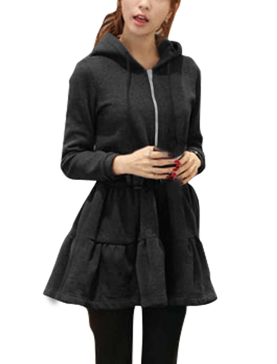 Women Hooded Flouncing Hem Soft Lining Tunic Coat Dress Black S