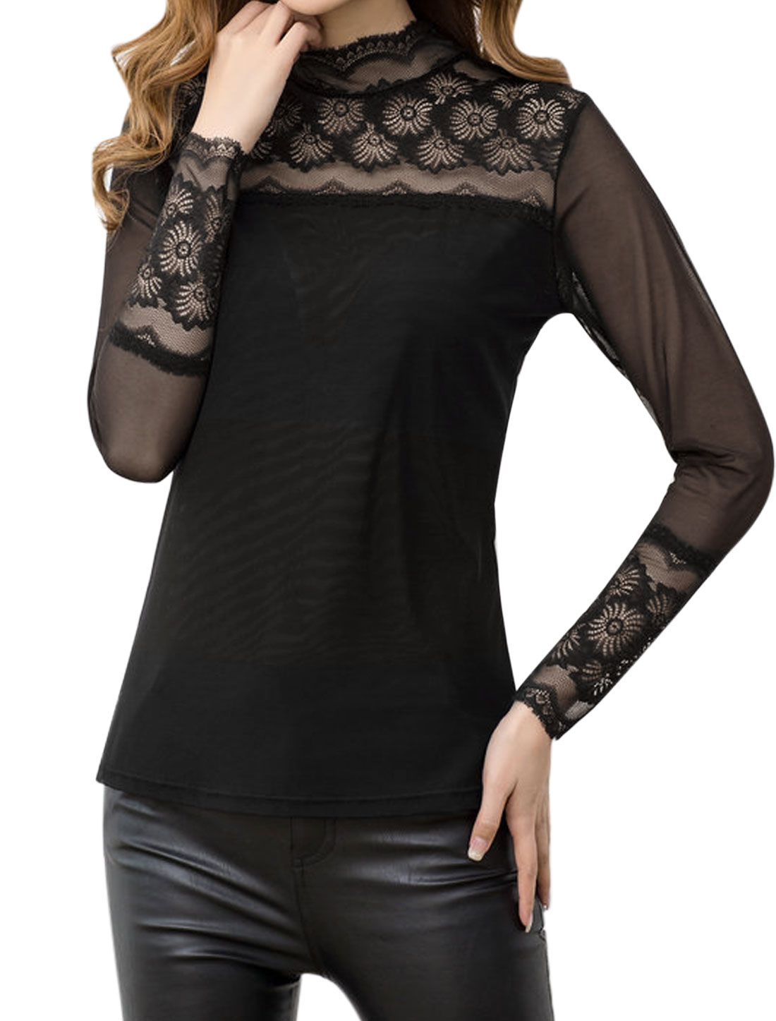 Lady Long Sleeves Lace Panel See Through Yoke Slim Fit Mesh Shirt Black XS
