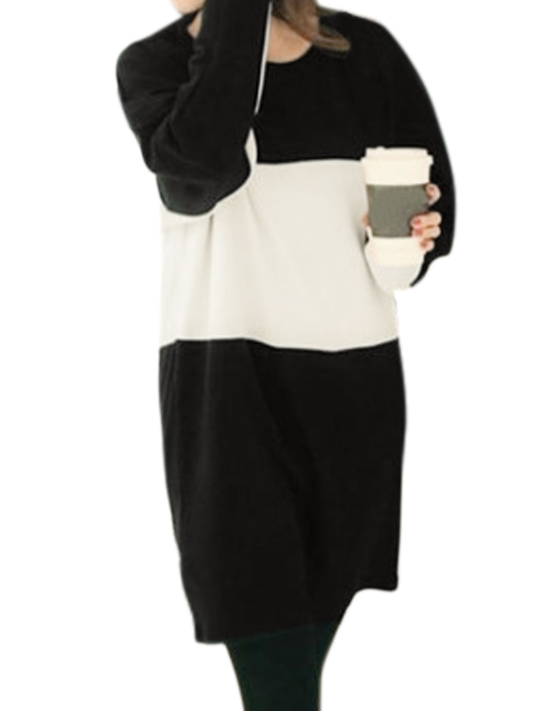 Women Round Neck Long Dolman Sleeves Color Block Loose Tunic Dress Black M