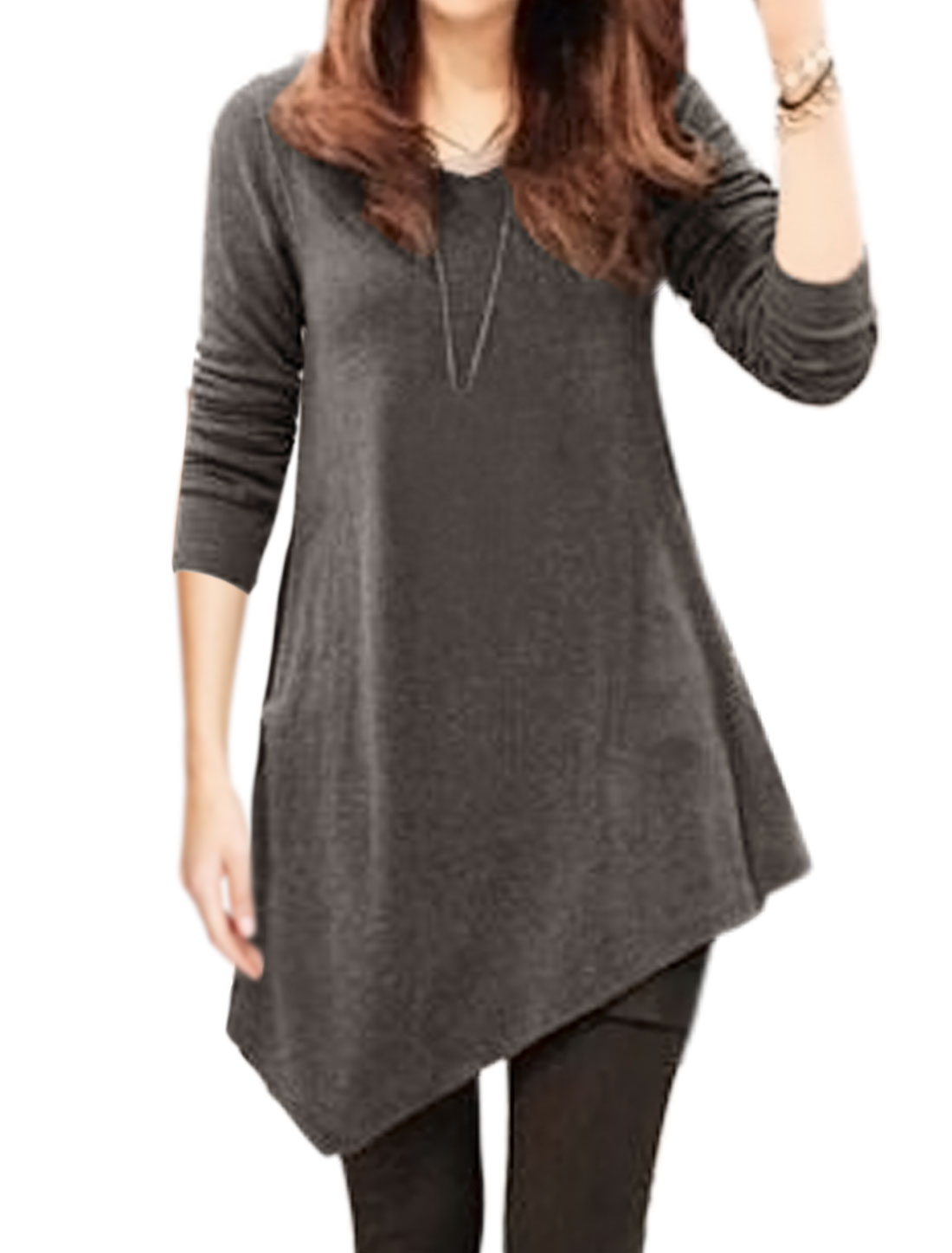 Women V Neck Long Sleeves Casual Asymmetric Hem Loose Tunic Top Gray M