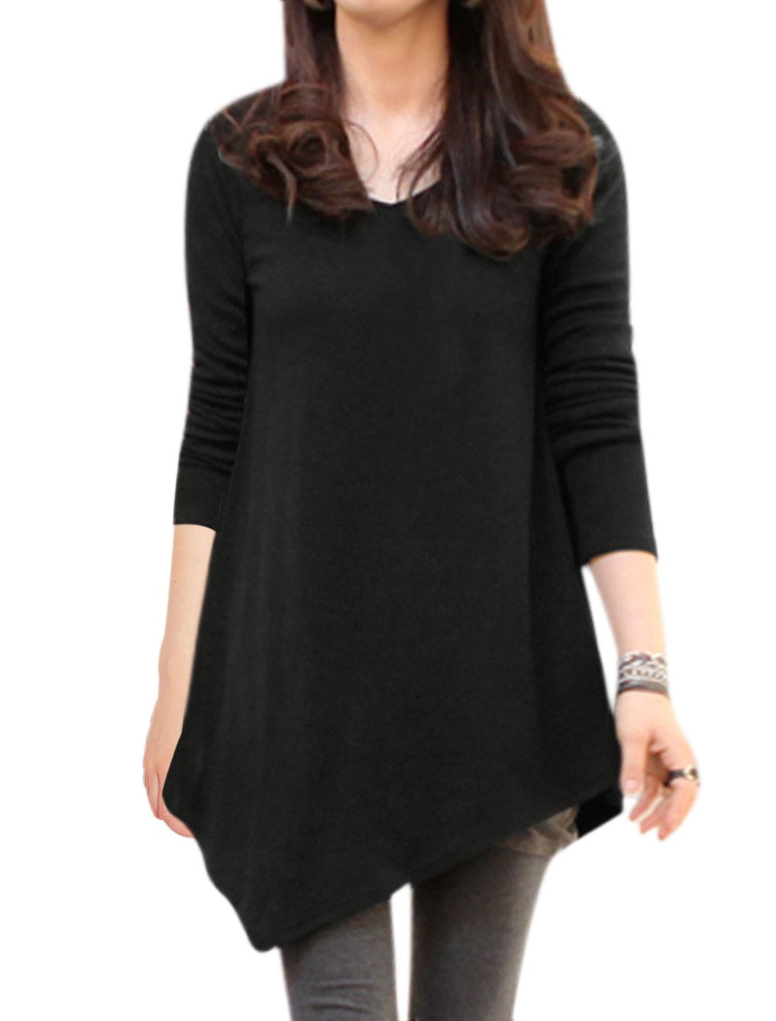 Ladies V Neck Long Sleeves Irregular Hem Loose Slipover Tunic Tee Black M