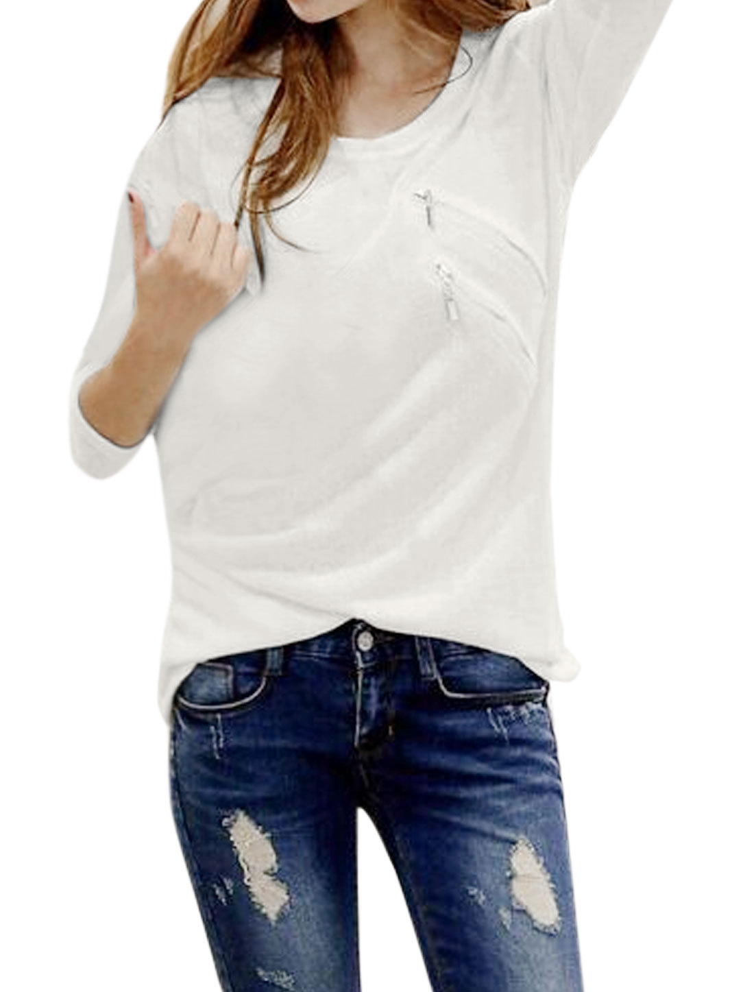 Women Round Neck Long Sleeves Two Zippers Embellished Knit T-Shirt White M