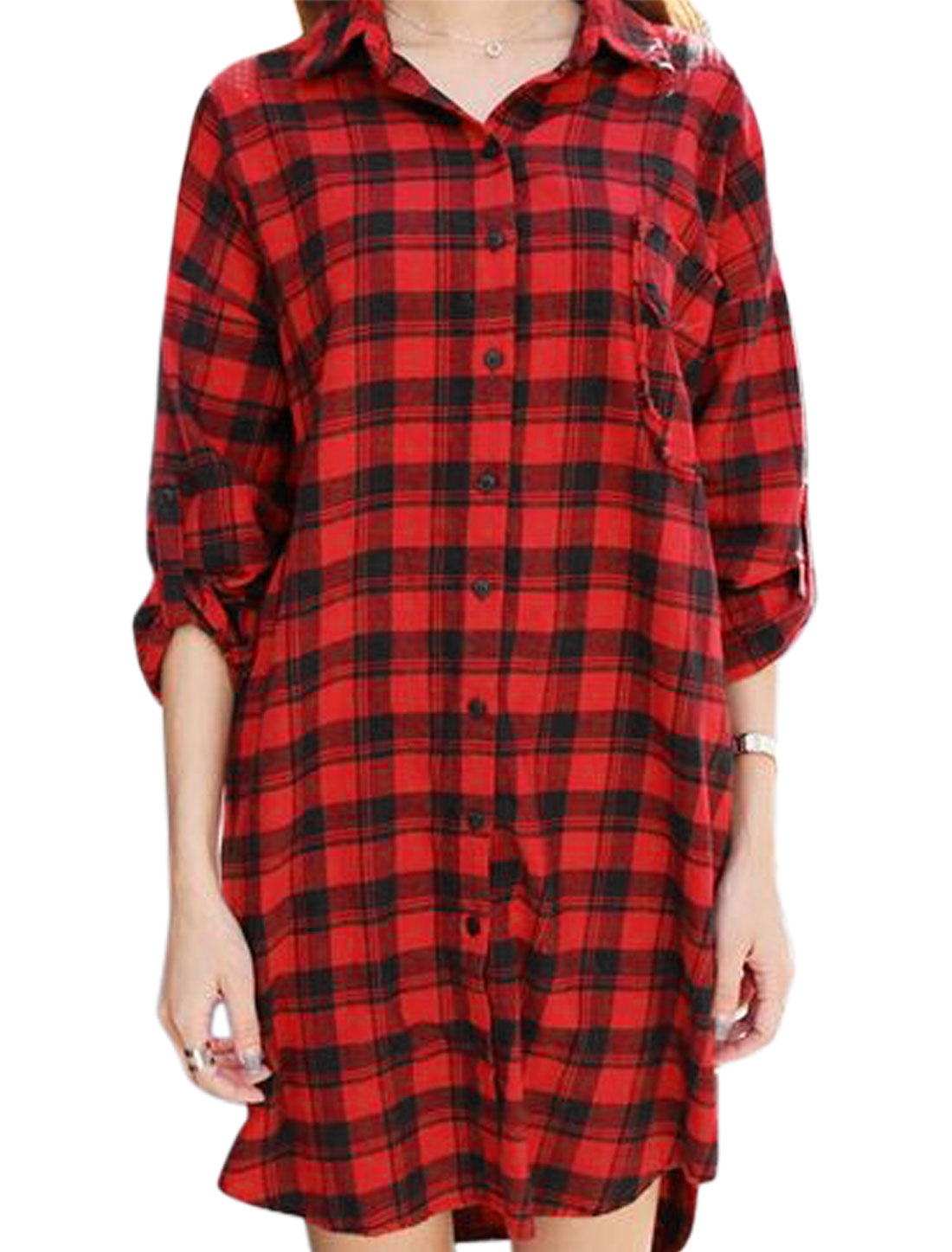 Lady Long Sleeves Plaids Pattern Single Breasted High Low Hem Tunic Shirt Red XS