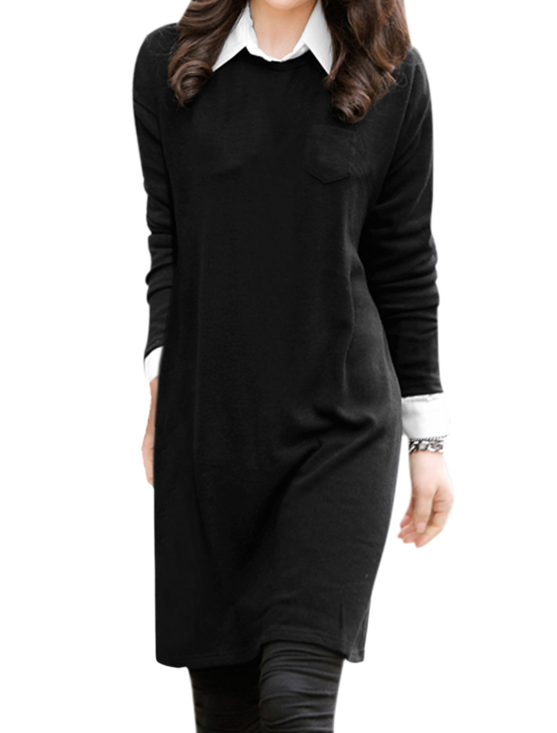 Ladies Long Sleeves Layered Panel Design Casual Tunic Dress Black M