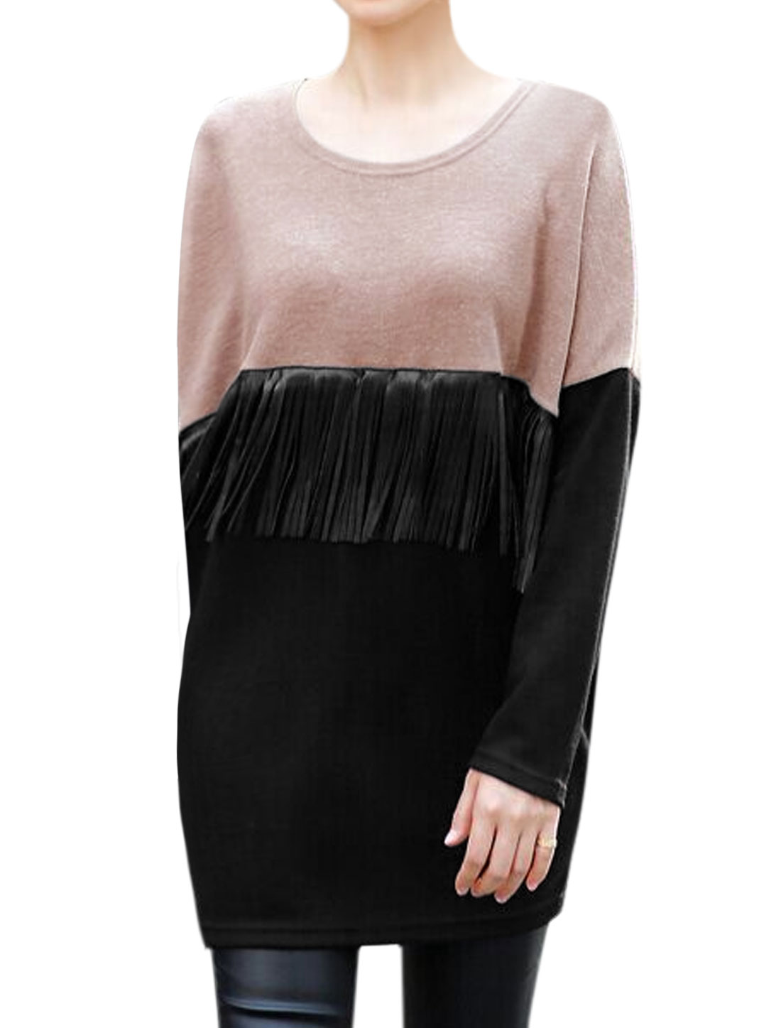 Women Long Sleeves Tassels Design PU Panel Loose Tunic Dress Black S