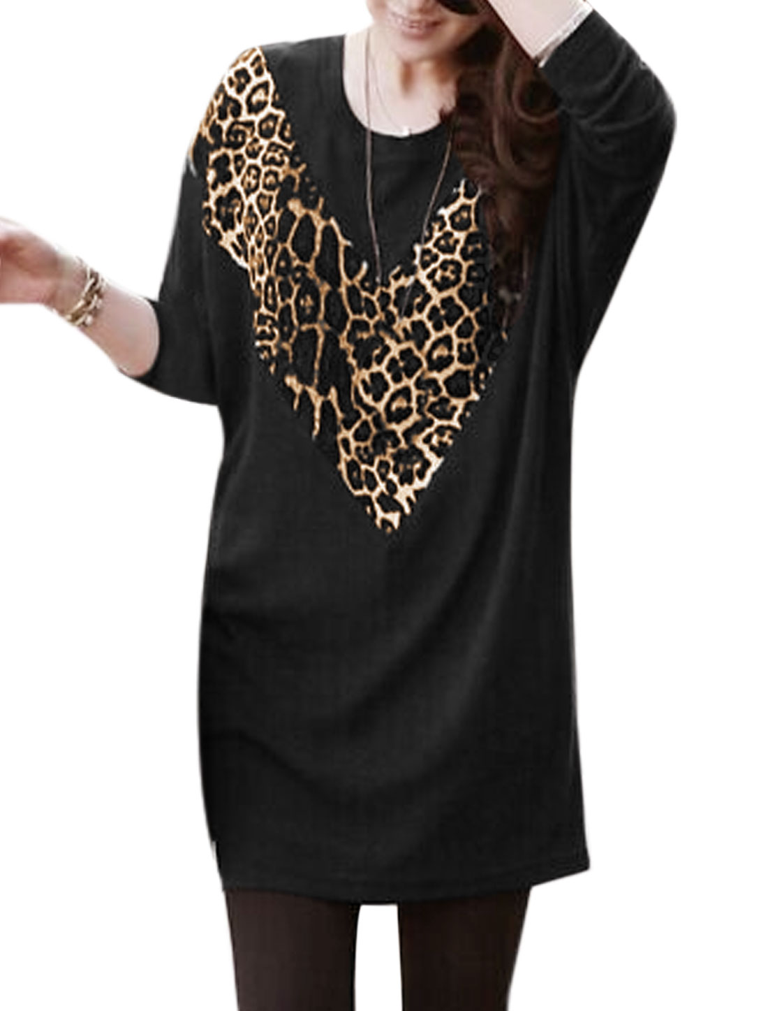 Women Round Neck Long Sleeves Leopard Pattern Loose Tunic Dress Black S