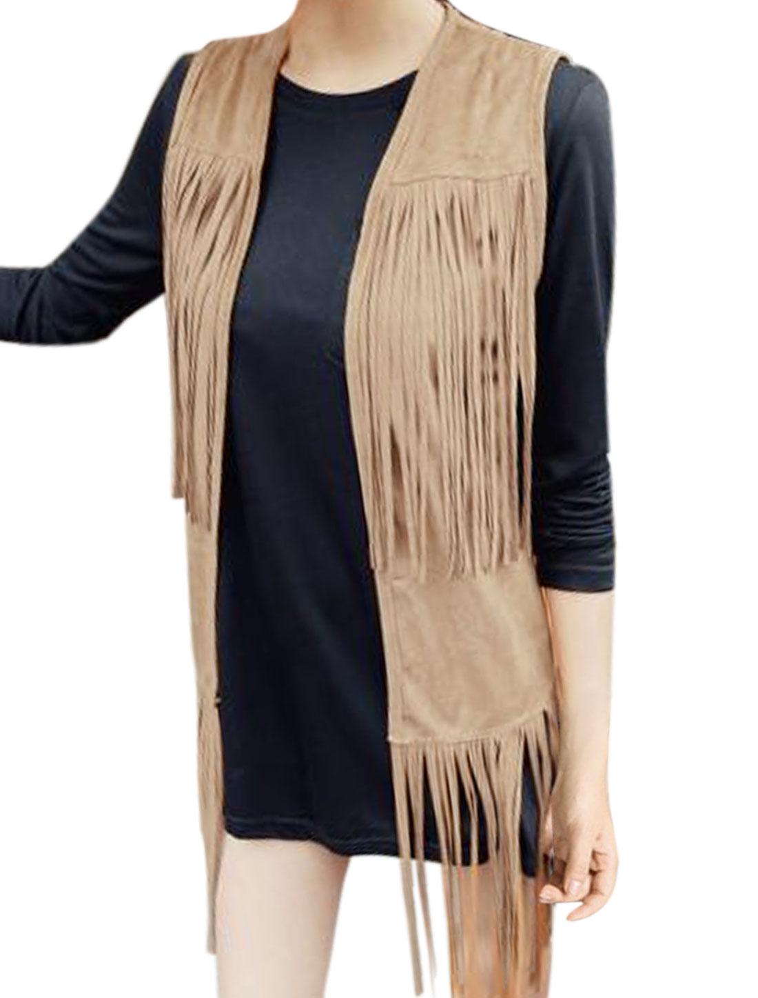 Women Open Front Tassels Design Split Sides Tunic Vest Brown XS