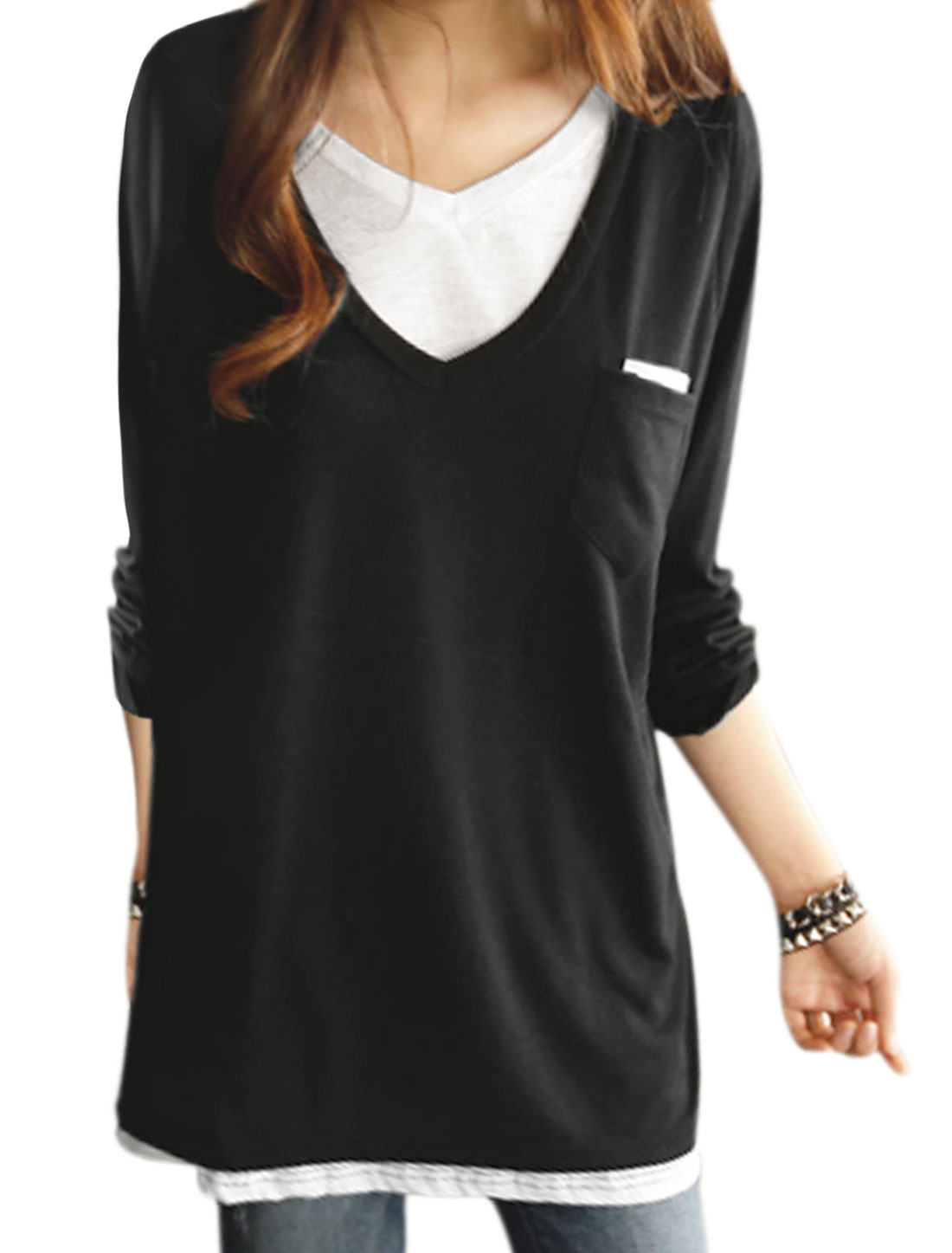 Women Long Sleeves Panel Design Contrast Color Two Pockets Tunic Top Black XS