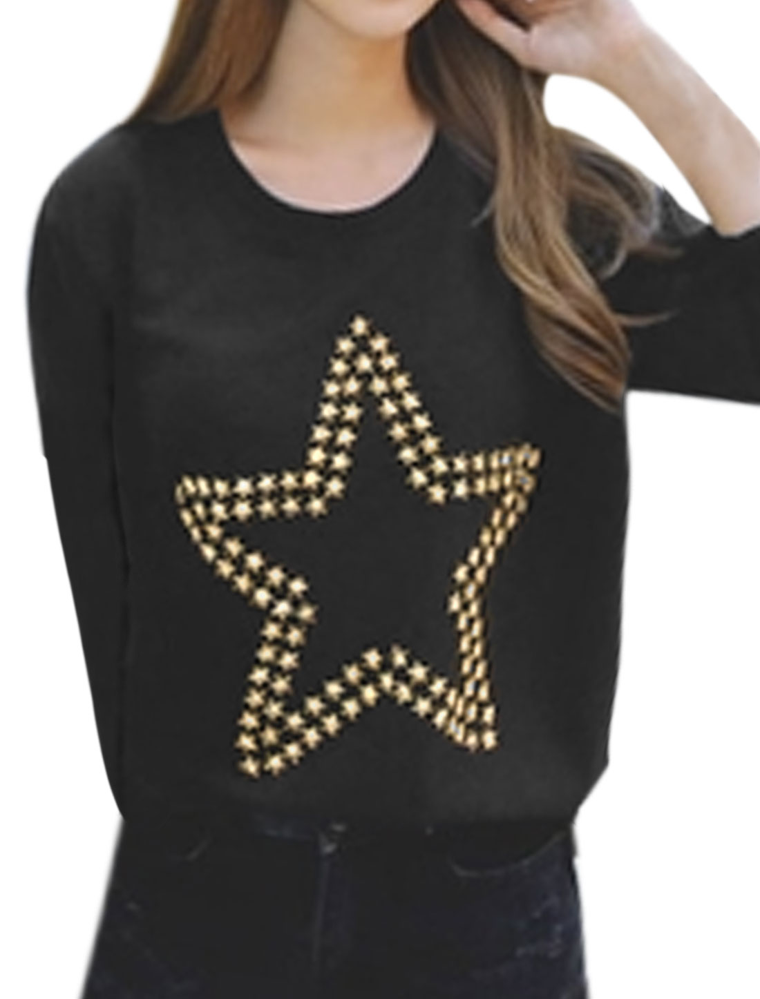 Women Round Neck Long Sleeves Stars Decor Tunic Knit Shirt Black S