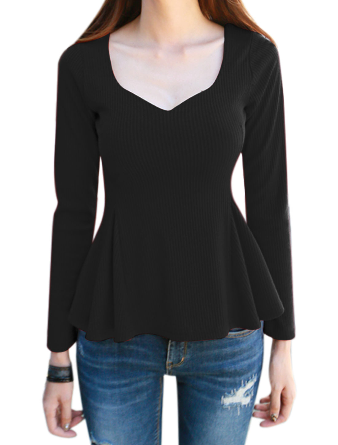 Lady Asymmetric Neck Long Sleeves Crossover Back Peplum Top Black M
