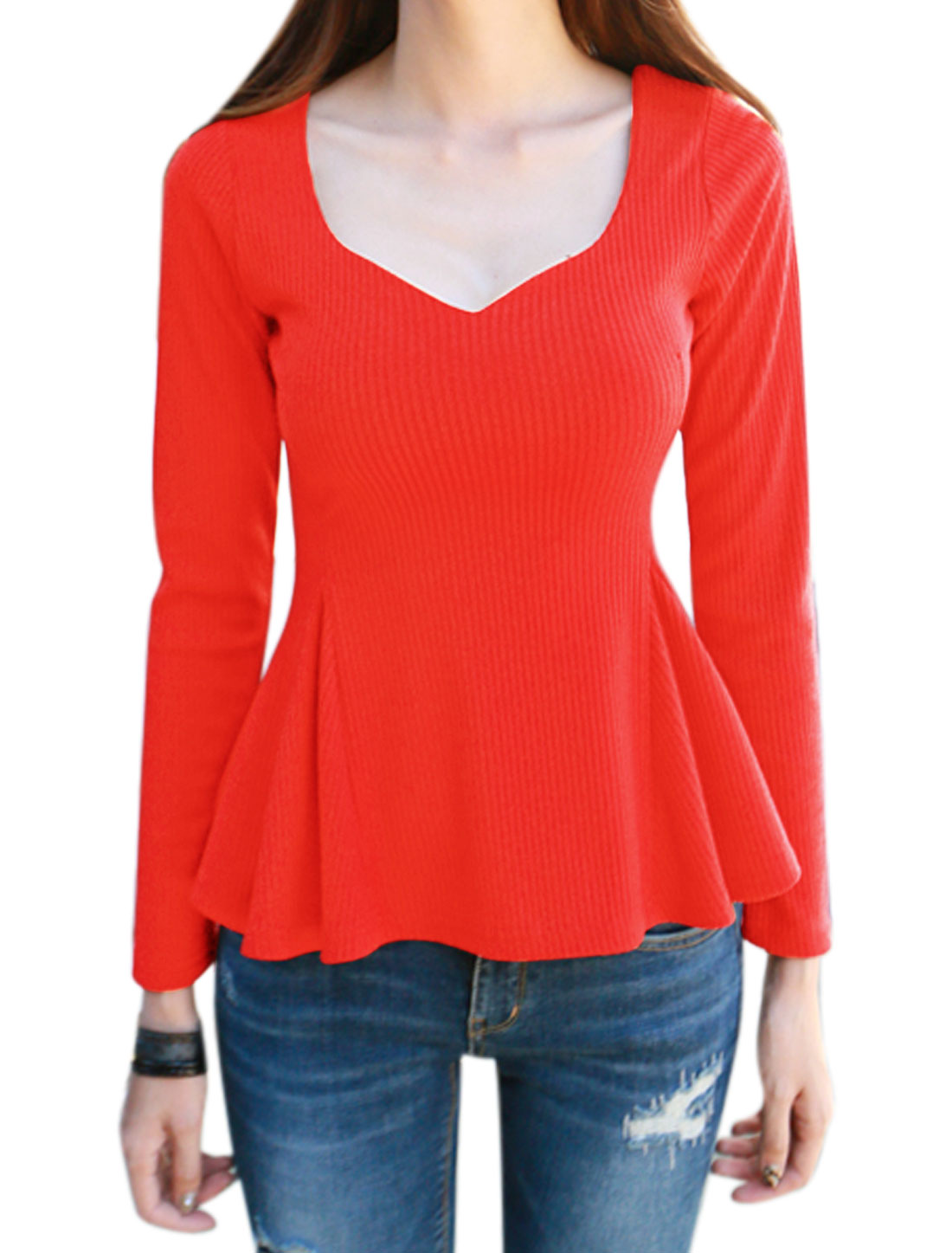 Women Long Sleeves Crossover Back Ribbed Slim Fit Peplum Top Red M