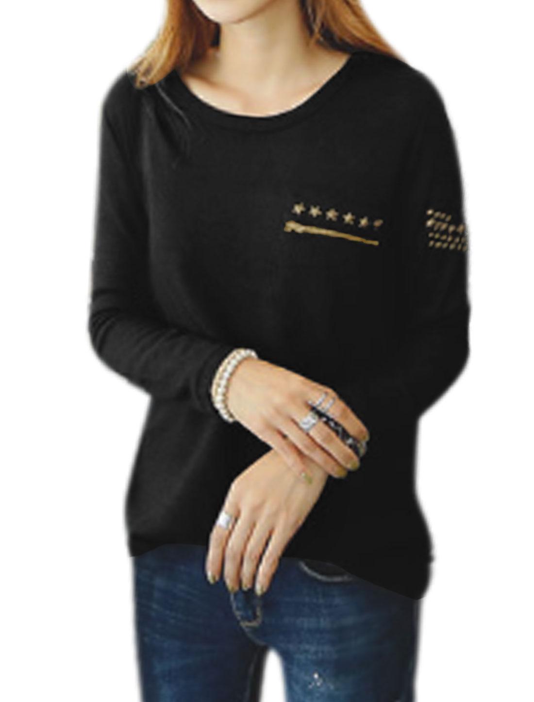 Women Long Sleeves Stars Rivets Embellished High Low Hem Knit Tee Black XS