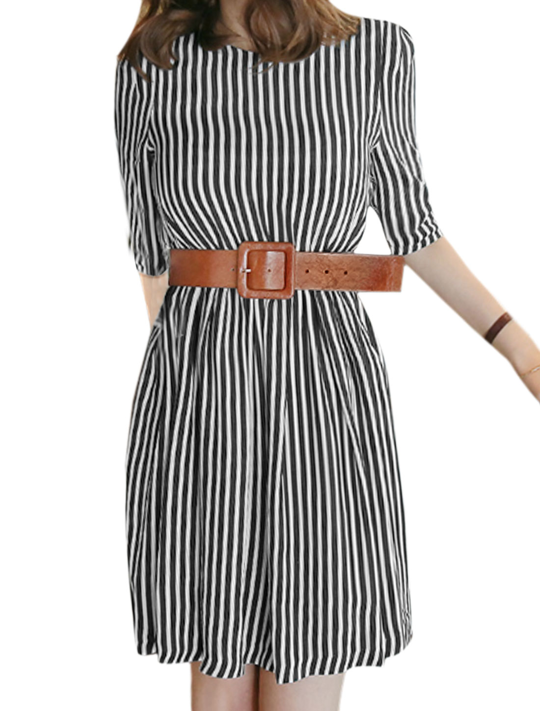 Women 3/4 Sleeves Round Neck Stripes Prints A Line Dress w Belt Black White S