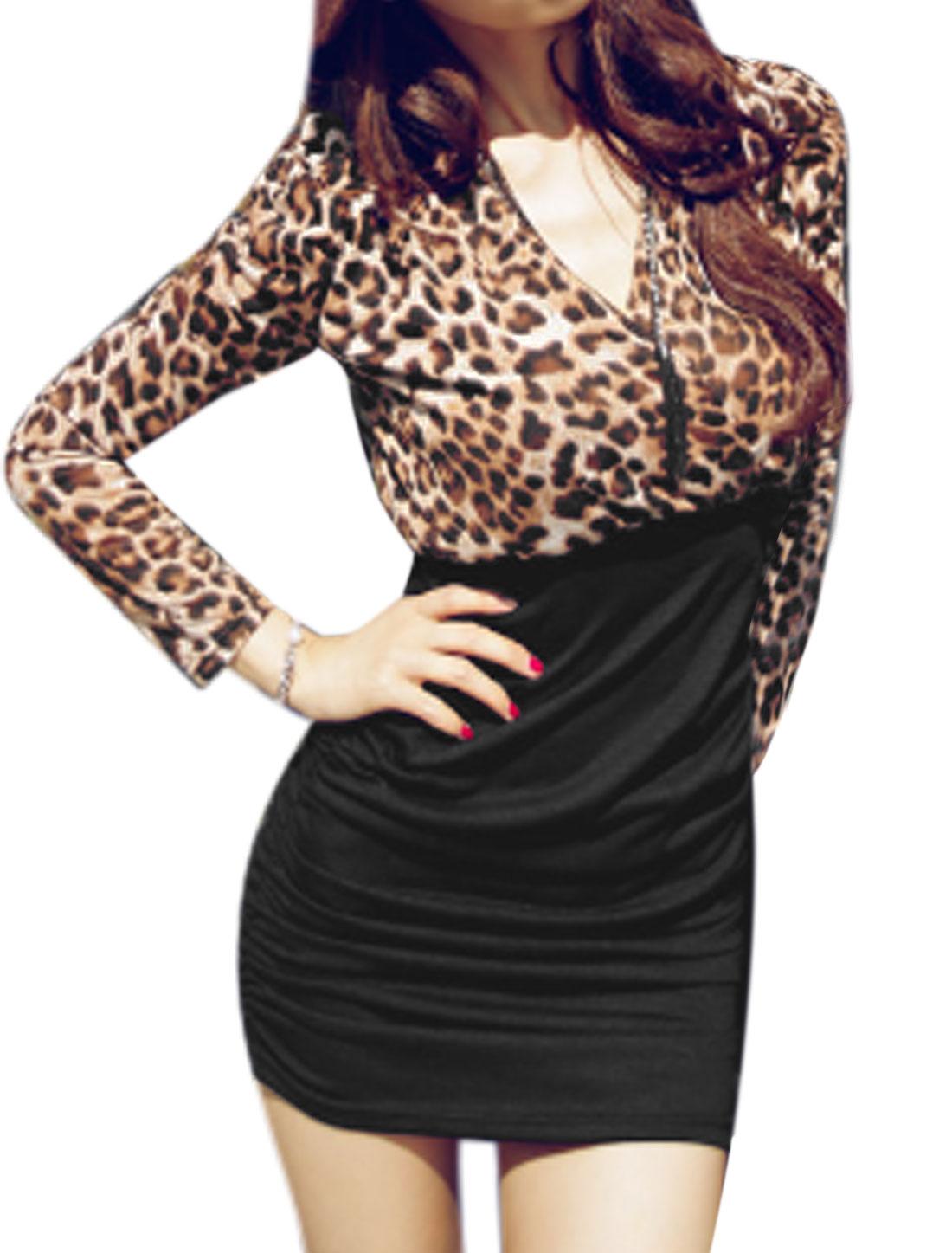 Women Deep V Neck Long Sleeves Leopard Prints Ruched Sheath Dress Black M