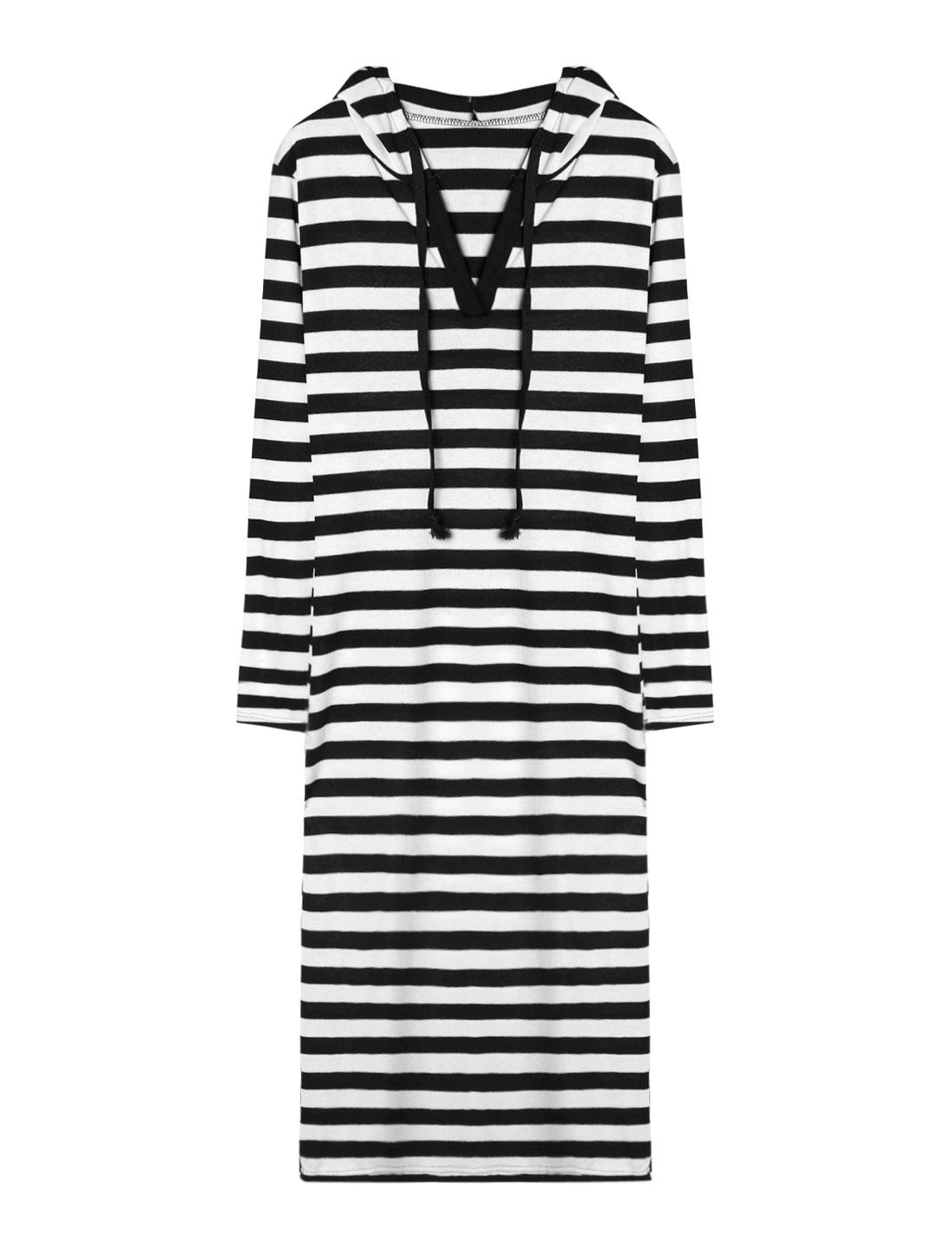 Lady Hooded V Neckline Long Sleeves Ribbed Stripes Midi Dress Black S