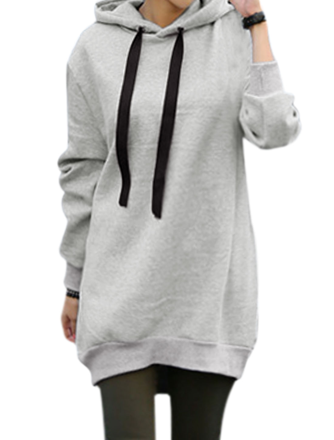Women Drawstring Hood Batwing Sleeves Loose Soft Lining Tunic Sweatshirt Gray S