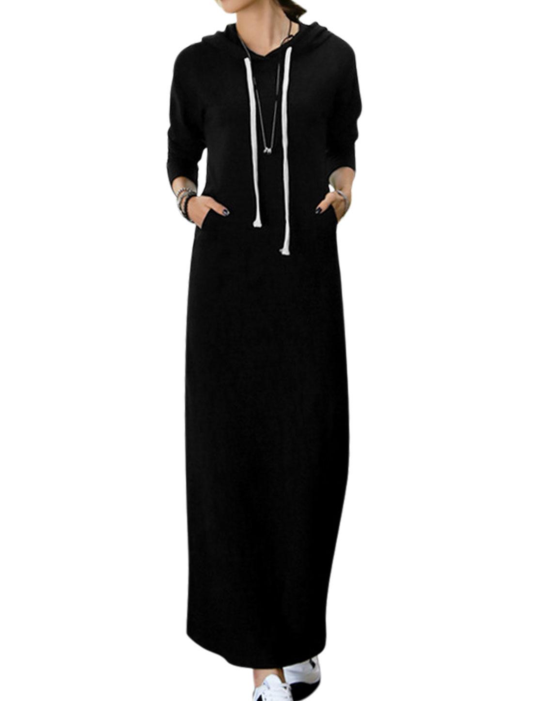 Women Drawtring Hood Kangaroo Pocket Long Sleeves Sweatshirt Dress Black S