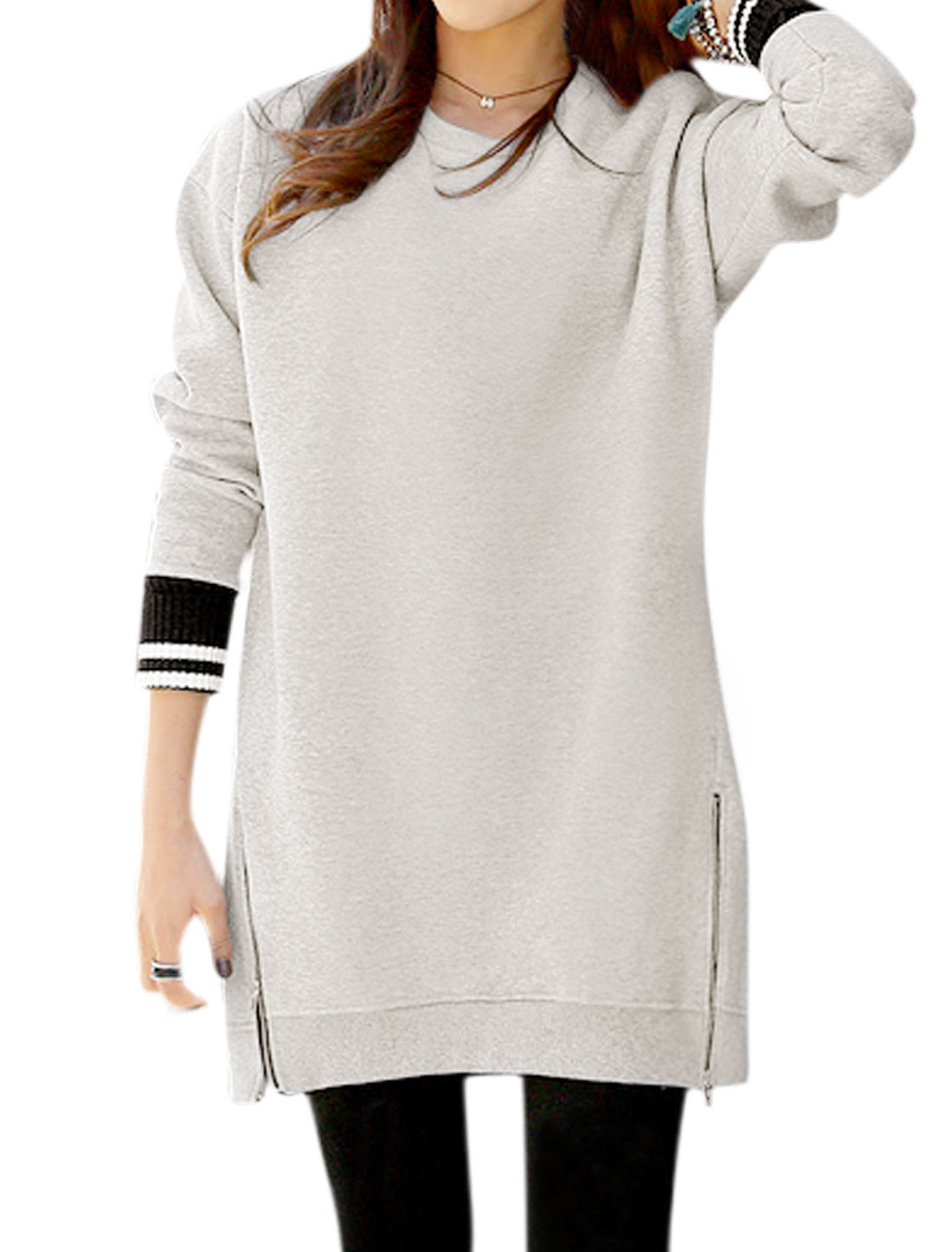 Women Long Sleeves Stripes Detail Two Zippers Tunic Sweatshirt Gray M