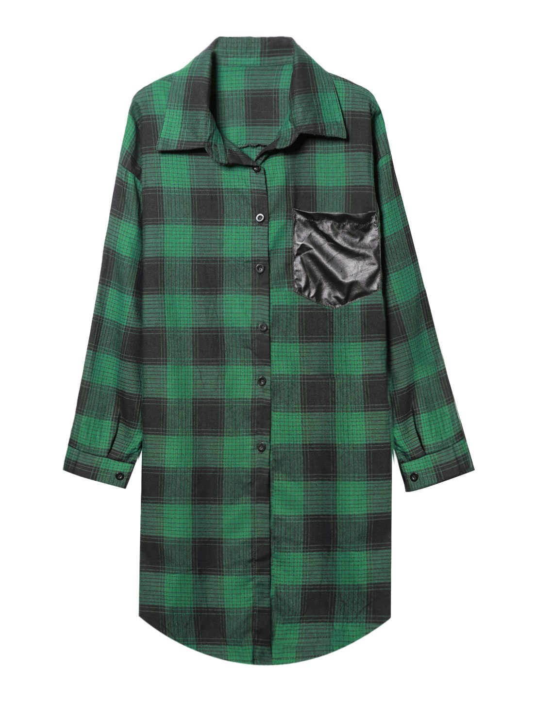 Women Long Sleeves Button Closed Plaids Tunic Casual Shirt Green S
