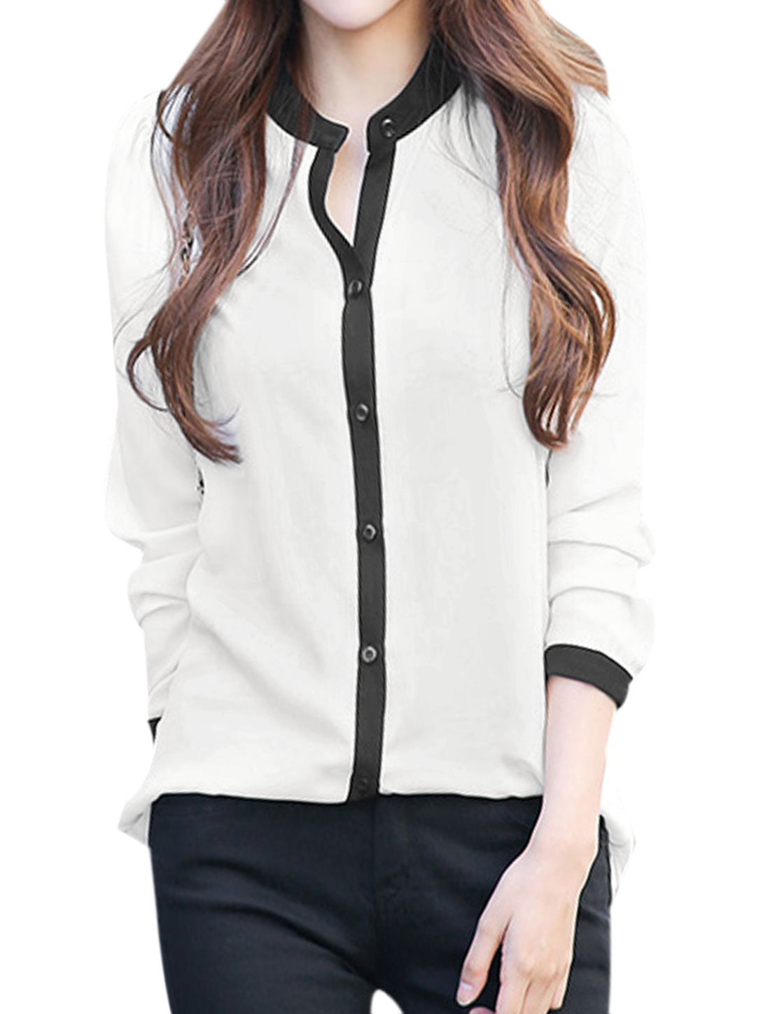 Lady Stand Collar Long Sleeves Button Closed Chiffon Blouses White S