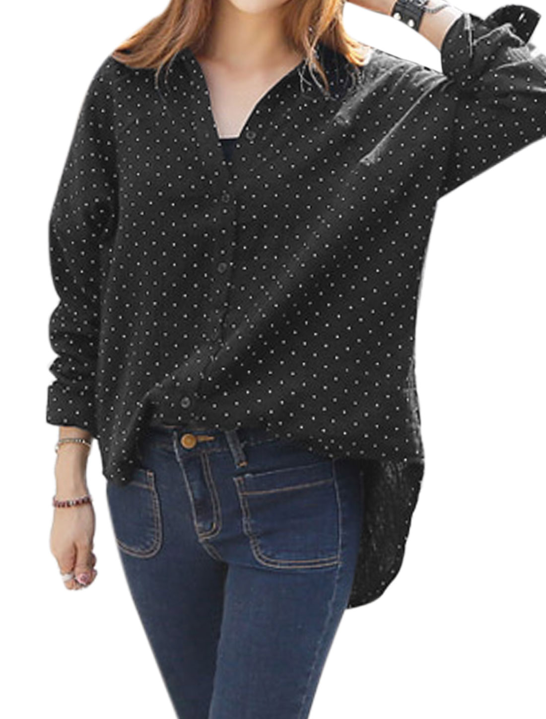 Women Point Collar Long Sleeves Dots Loose Tunic Shirt Black XS