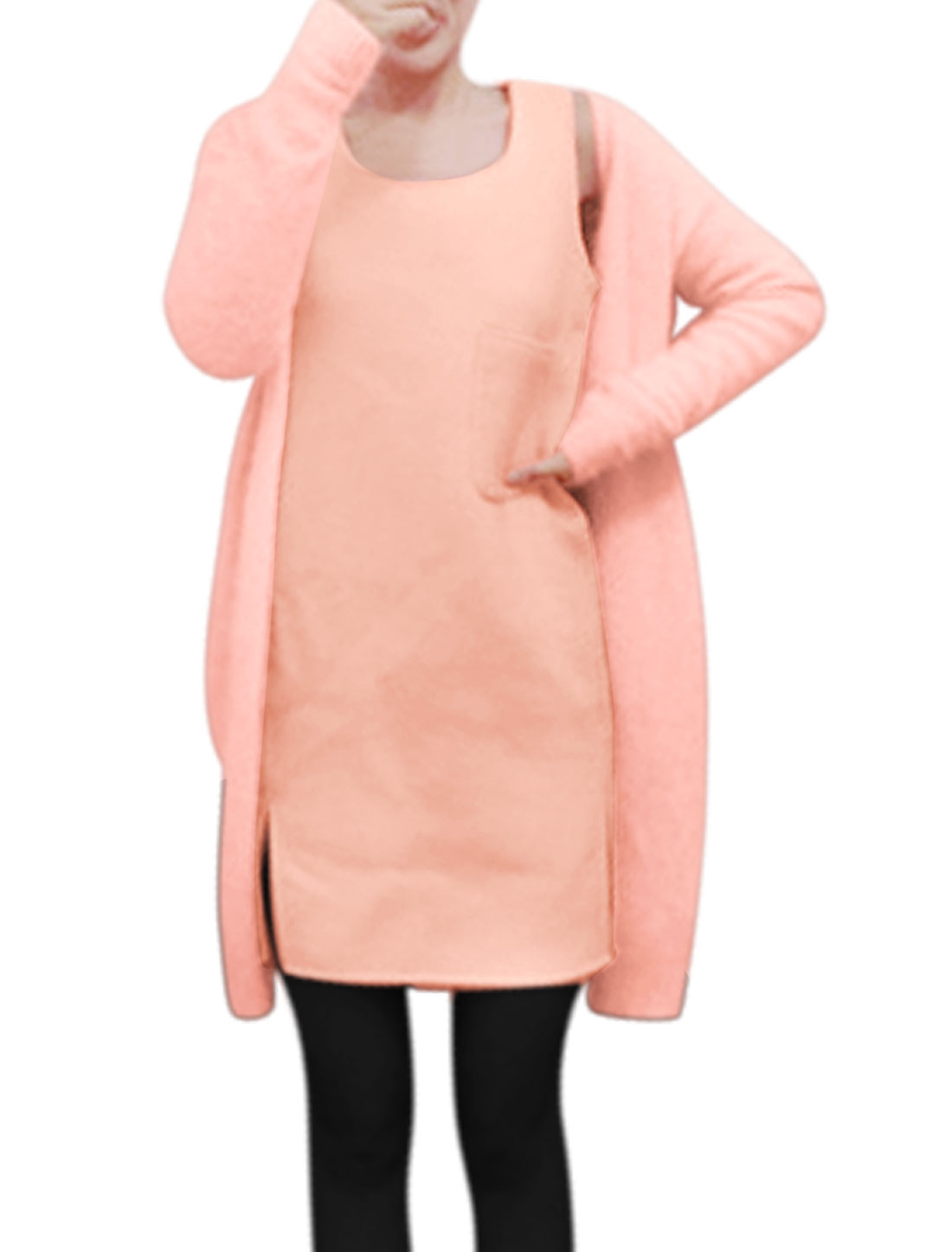 Lady Split Sides Tunic Top w Long Sleeves Fleece Cardigan Sets Pink S