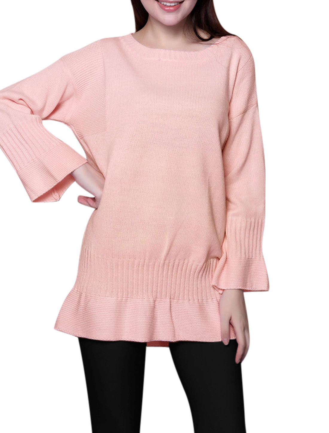 Women Long Sleeves Drop Shoulders Ribbed Flouncing Hem Knit Tunic Top Pink XS