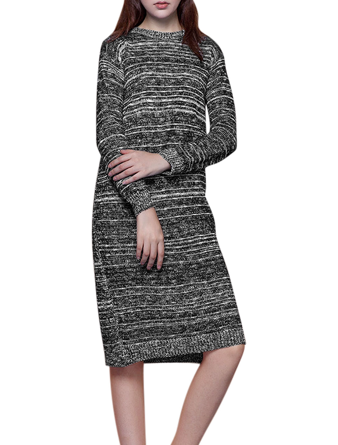 Women Crew Neck Long Sleeves Contrast Color Sweater Dress Gray S