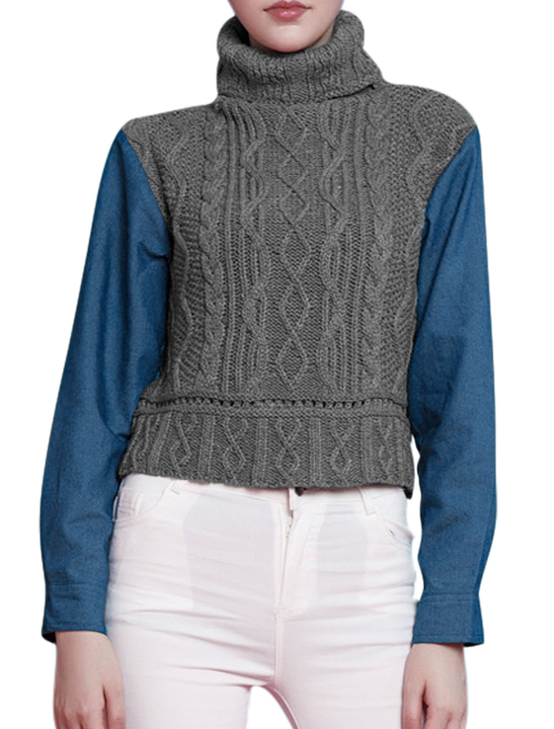 Women Turtle Neck Cable Knit Denim Panel Color Block Crop Sweater Gray XS
