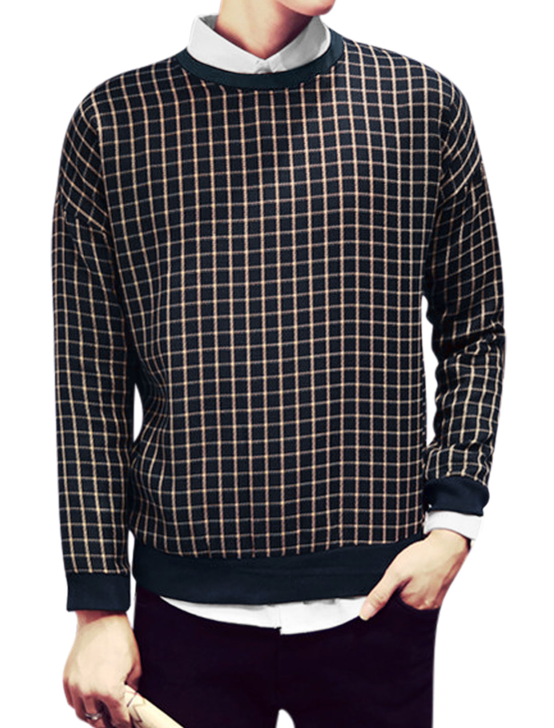 Men Plaids Print Crew Neck Leisure Long Sleeves Slipover Sweatshirt Beige Blue M